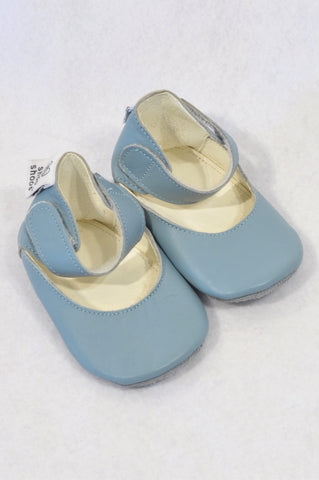 Shooshoos Size 0 Duck Egg Ankle Strap Leather Shoes Girls 0-6 months
