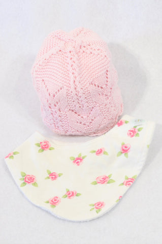 Candyfloss Clouds Pink Crochet Beanie & Rose Bib Girls 0-3 months