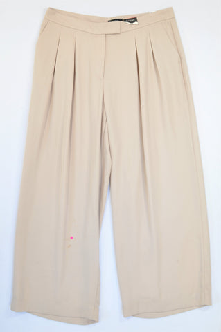 Autograph Cream Wide Leg Pleated Formal Pants Women Size 18