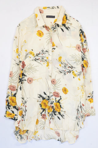 Marks & Spencers Beige Watercolour Flower Blouse Women Size 18