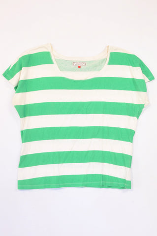 Fresh Produce Green Broad Stripe Batwing T-shirt Women Size M