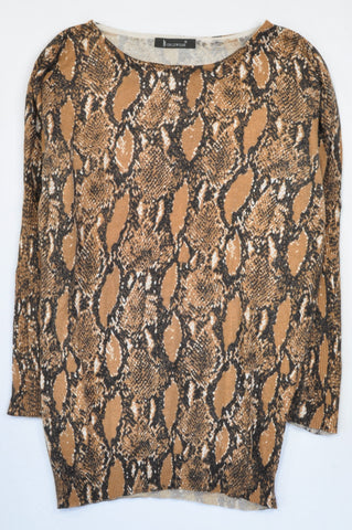 Noble Wear Brown Snakeskin Knit Ribbed Jersey Women Size M