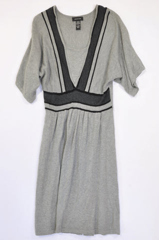 Spense Grey & Black Detail Knit Loose Sleeve Dress Women Size M