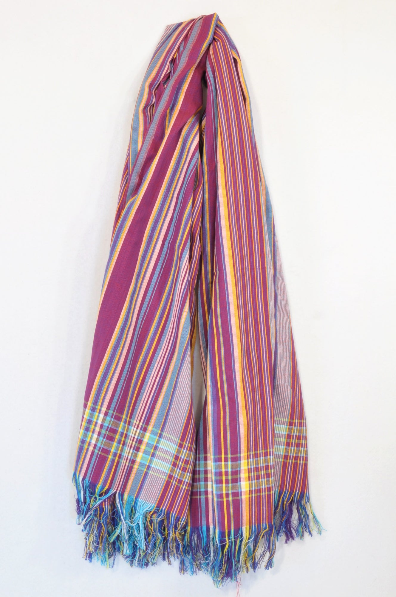 Unbranded Purple & Yellow Pinstripe Tassel Beach Wrap Accessory Women