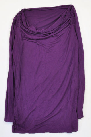 Woolworths Royal Purple Neckline Frill Long Sleeve T-shirt Women Size M