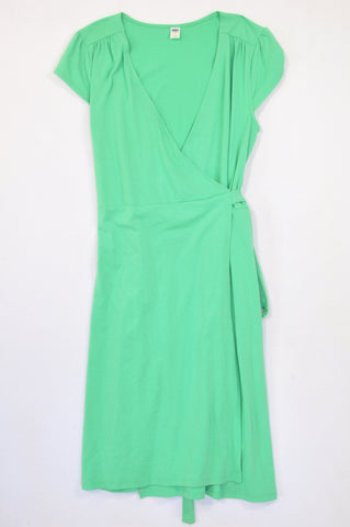 Old Navy Bright Green Wrap Tie Dress Women Size M