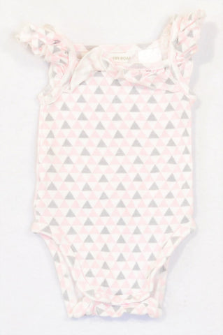 Country Road Pink & Grey Triangle Frill Baby Grow Girls 0-3 months