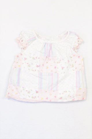 Marks & Spencers Pink Ditsy Floral Patch Blouse Girls 6-9 months