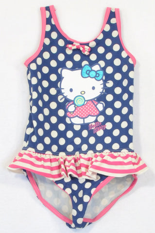 Marks & Spencers Navy Dotty Hello Kitty Pink Trim Swim Suit Girls 2-3 years