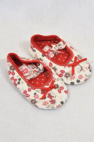 Ackermans Size 3 Red Floral Strappy Shoes Girls 9-12 months