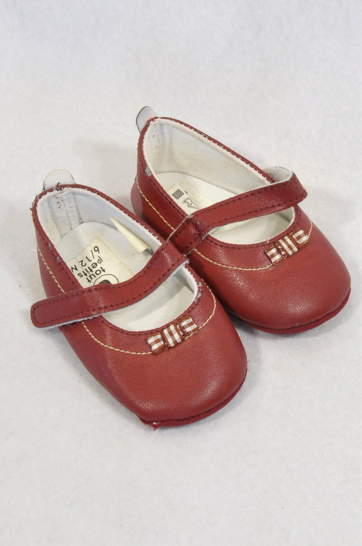 Tout Petit Size 2 Wine Red Check Bow Shoes Girls 6-9 months