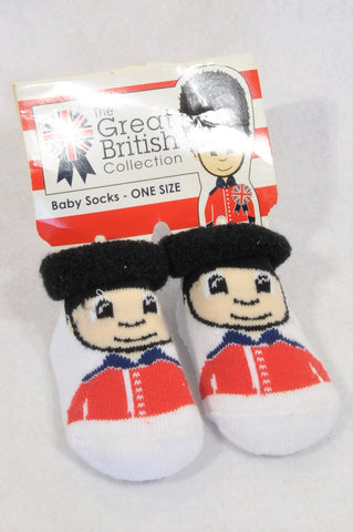 New The Great British Collection Size 0 Queen's Guard Socks Unisex 0-6 months