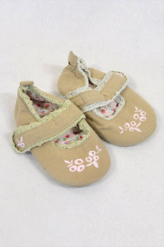 Ackermans Size 1 Beige Pink Cherry Shoes Girls 3-6 months