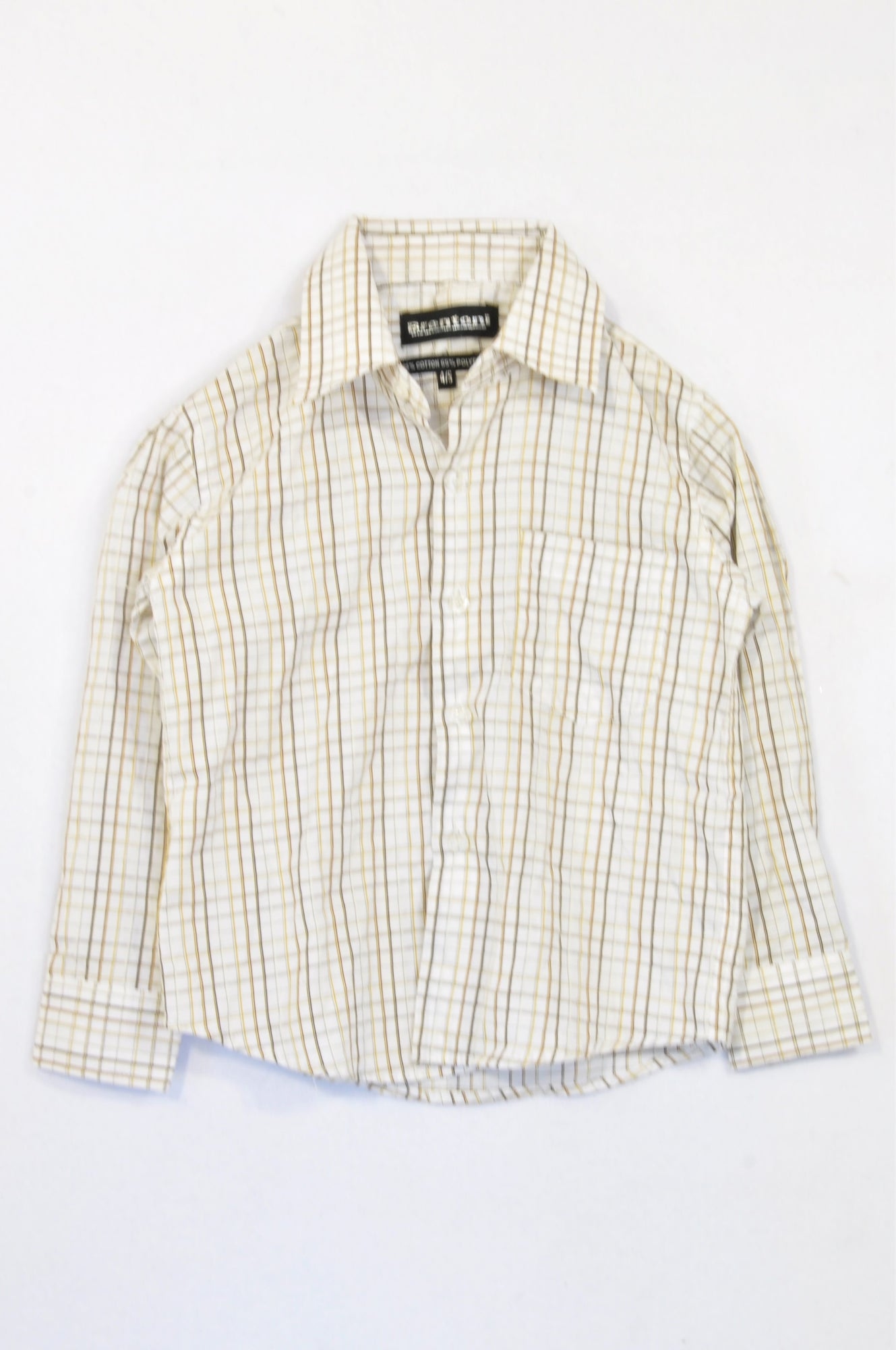 Brentoni Brown Stitch Check Shirt Boys 4-5 years
