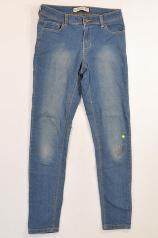 1996 Denim Co. Blue Brown Stitch Skinny Leg Jeans Women Size 32