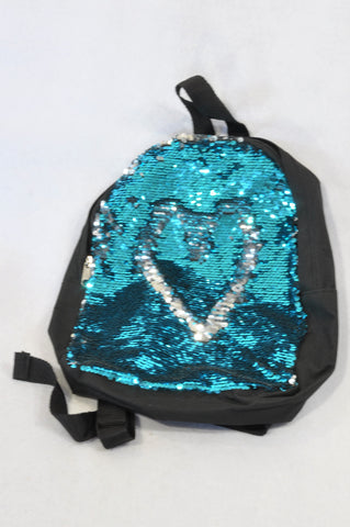 Unbranded Black, Blue & Grey Flip Sequin Backpack Unisex All Ages