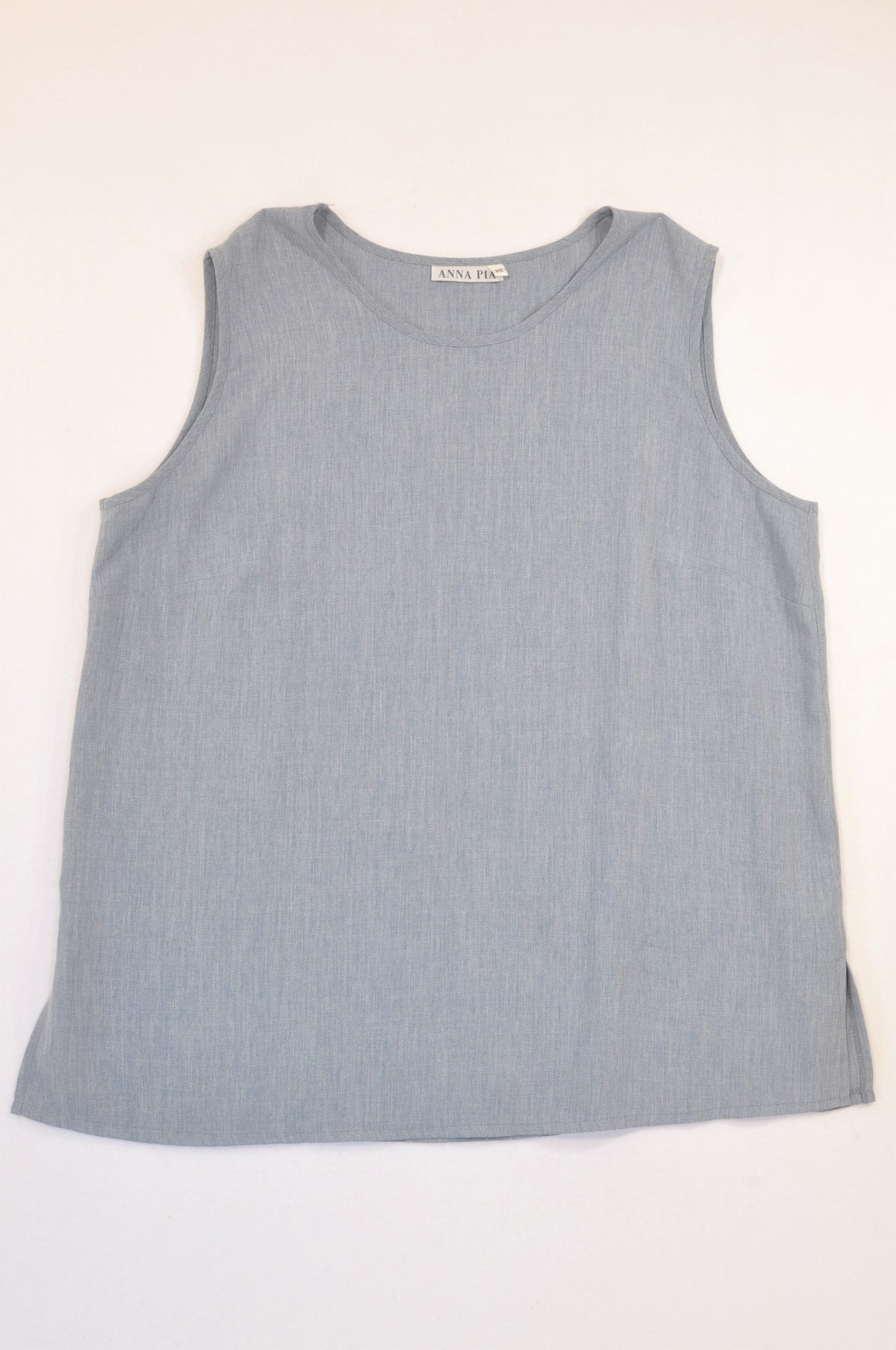 Anna Pia Light Blue Heathered Broad Strap Blouse Women Size 20