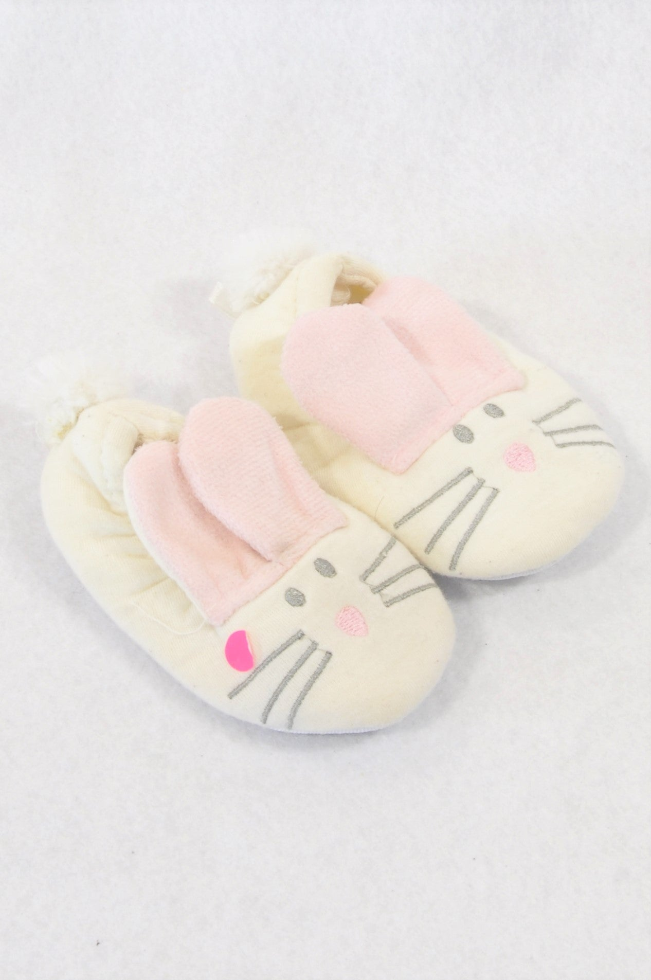 Unbranded Size 1 Ivory Bunny Slippers Girls 3-6 months