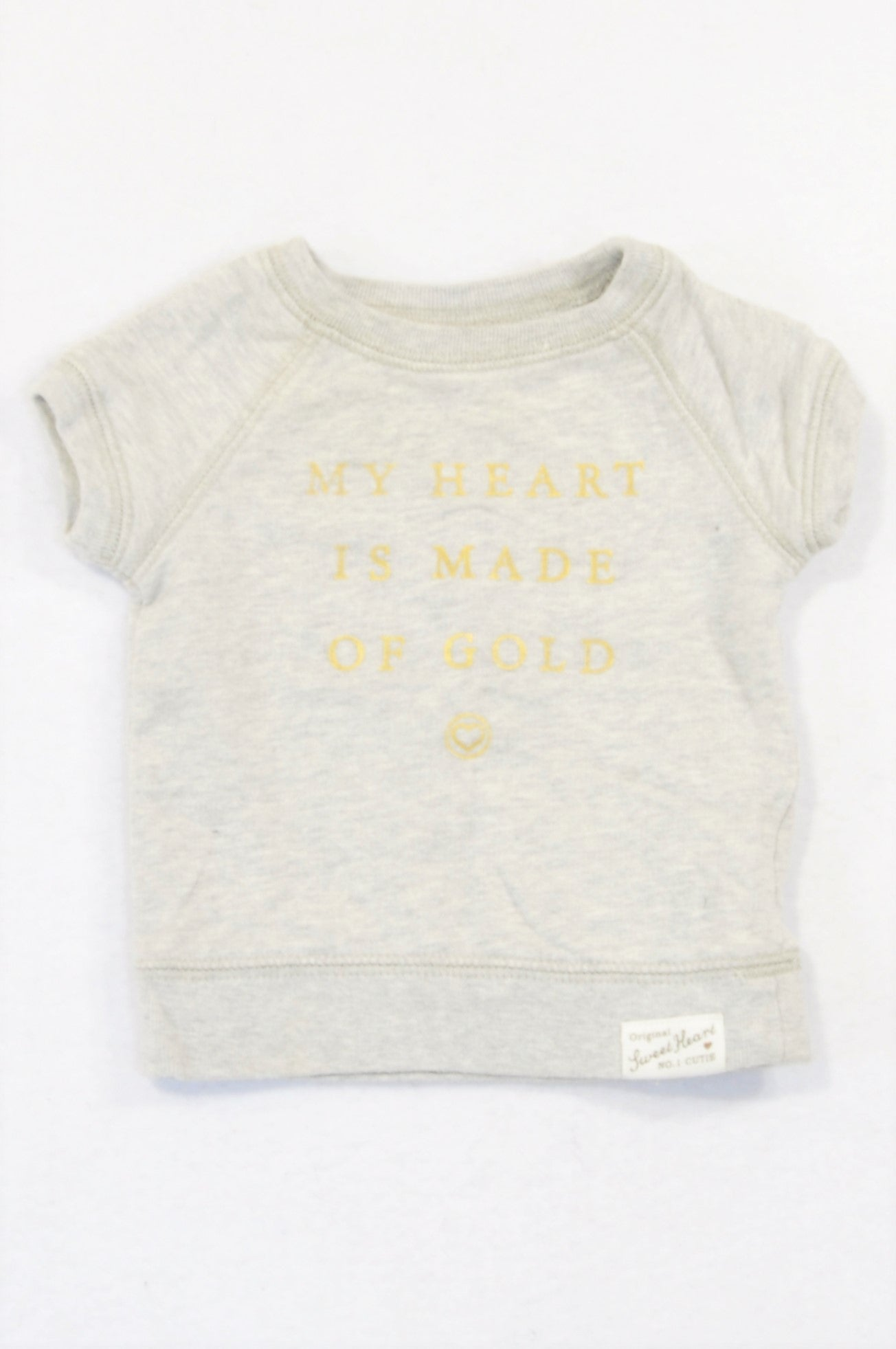 Carter's Grey Heart Is Made Of Gold Pull Over Top Girls 3-6 months