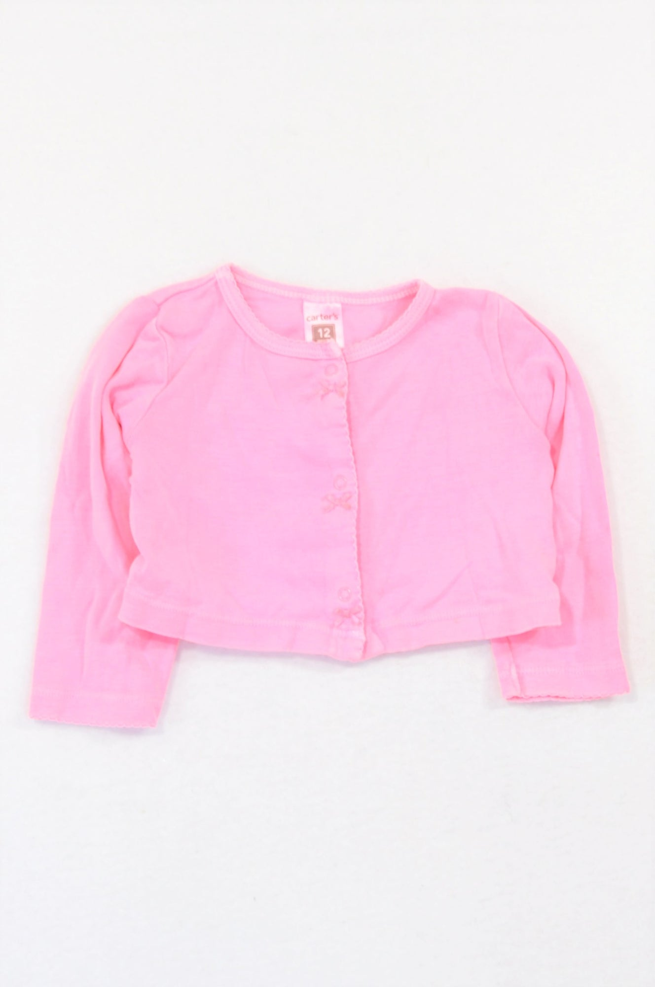Carter's Lumo Pink Bow Cropped Cardigan Girls 6-12 months