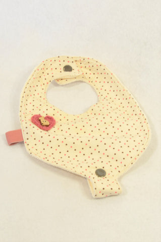 Unbranded Ivory Dotty Wooden Bunny Bib Girls N-B to 1 year