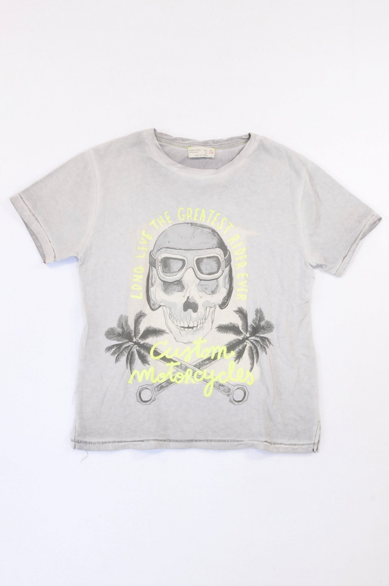 Zara Grey Lumo Detail Custom Motorcycles T-shirt Boys 7-8 years