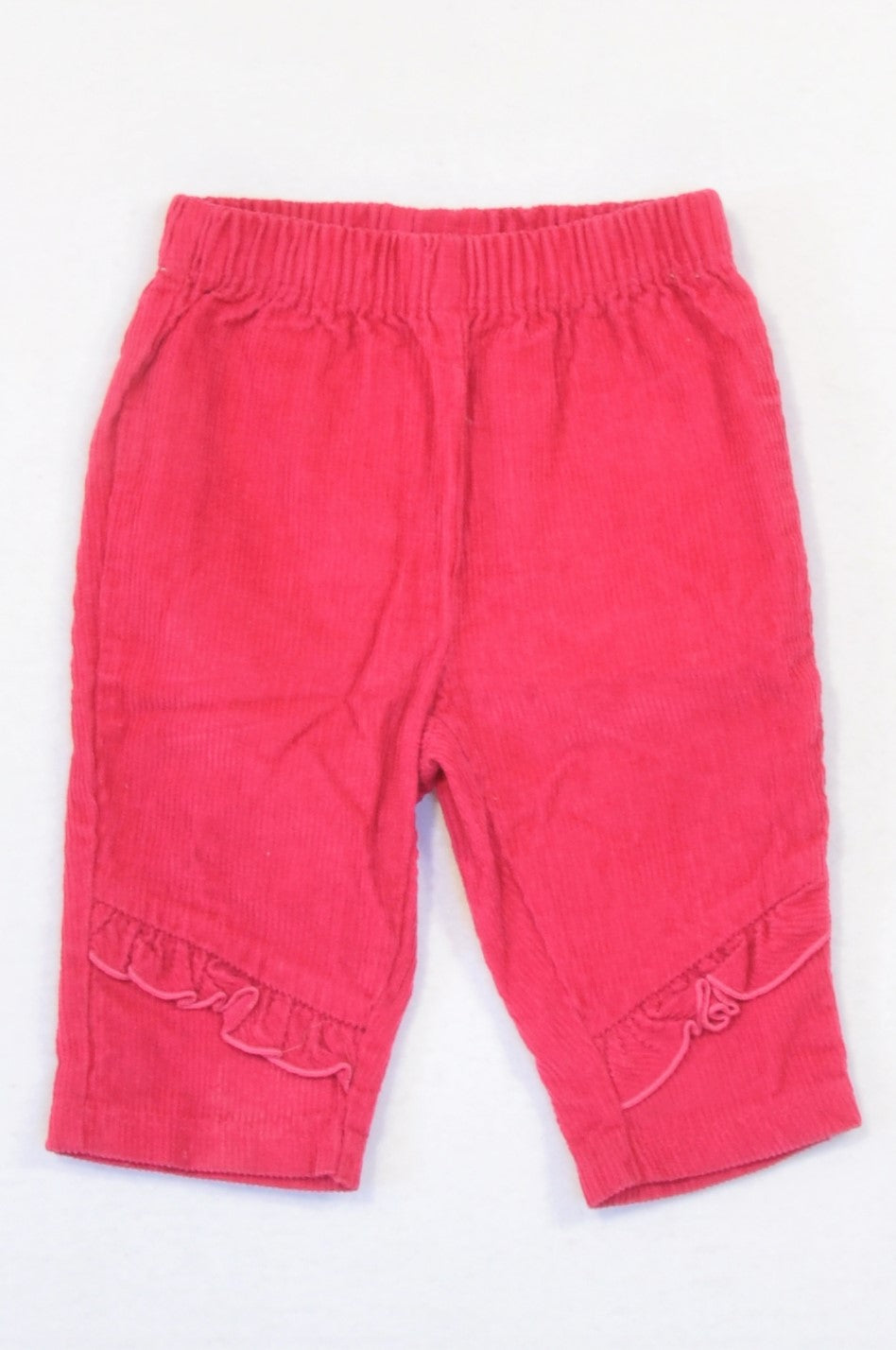 Woolworths Cerise Frill Detail Corduroy Pants Girls 3-6 months