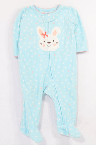 Carter's Aqua Dotty Fleece Bunny Onesie Girls 3-6 months