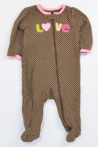 Carter's Brown Dotty Pink Trim LOVE Onesie Girls 3-6 months