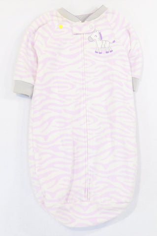 Carter's Lilac Zebra Fleece Sleep Sack Girls 0-6 months