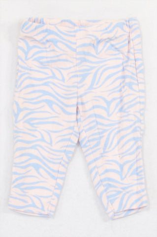 Carter's Pink & Blue Zebra Striped Leggings Girls 0-3 months