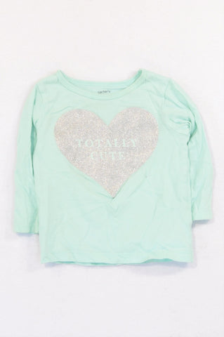 Carter's Seafoam Totally Cute T-shirt Girls 6-12 months