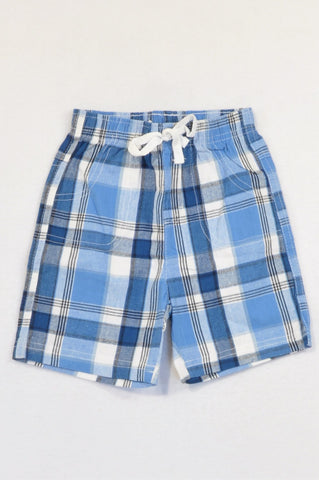 Ackermans Blue & White Plaid Shorts Boys 12-18 months