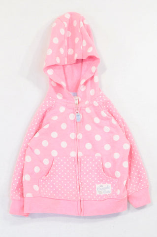 Carter's Bright Pink Polka Dotted Zipper Hoodie Girls 6-12 months