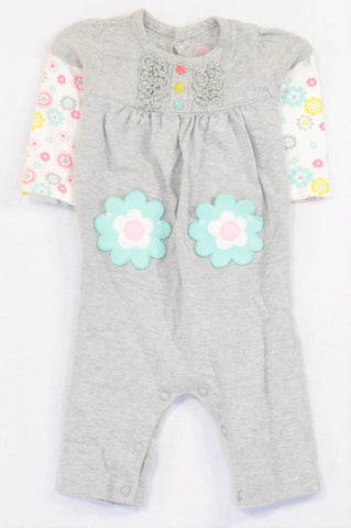 Carter's Grey Flower Embroidered Pocket Onesie Girls 0-3 months