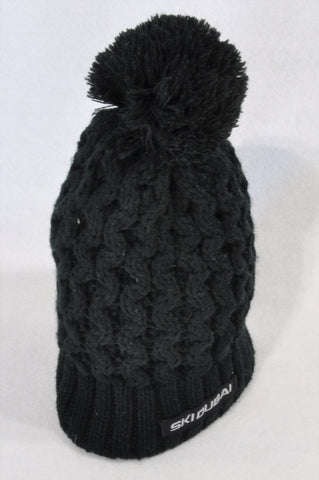SkiDubai Black Fleece Lined Knit Pom Pom Beanie Unisex 4-6 years