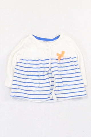 Carter's Blue Stripe Lumo Bow Cardigan Girls 0-3 months