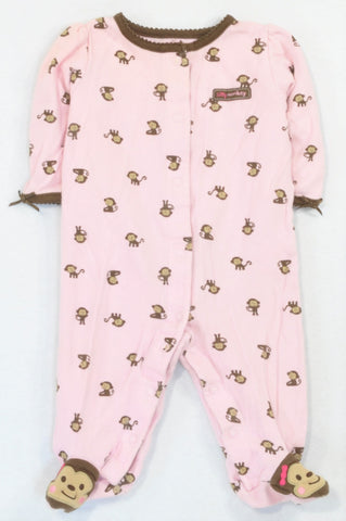 Carter's Brown Trim Pink Monkey Snap Onesie Girls 3-6 months