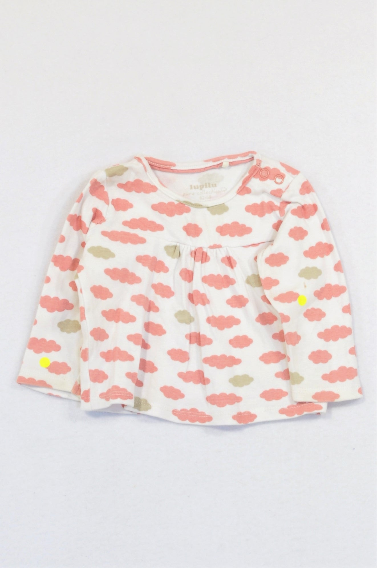 Lupilu Pink & Beige Cloudy Baby Doll Top Girls 3-6 months