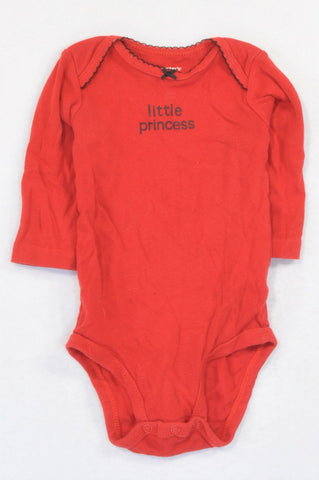 Carter's Red Black Trim Little Princess Baby Grow Girls 3-6 months
