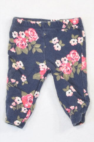 Carter's Navy Pink Rose Cropped Leggings Girls 0-3 months
