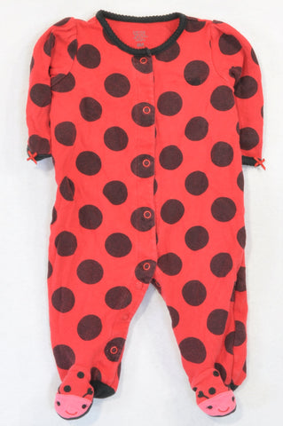 Carter's Red Dotty Ladybug Onesie Girls 3-6 months