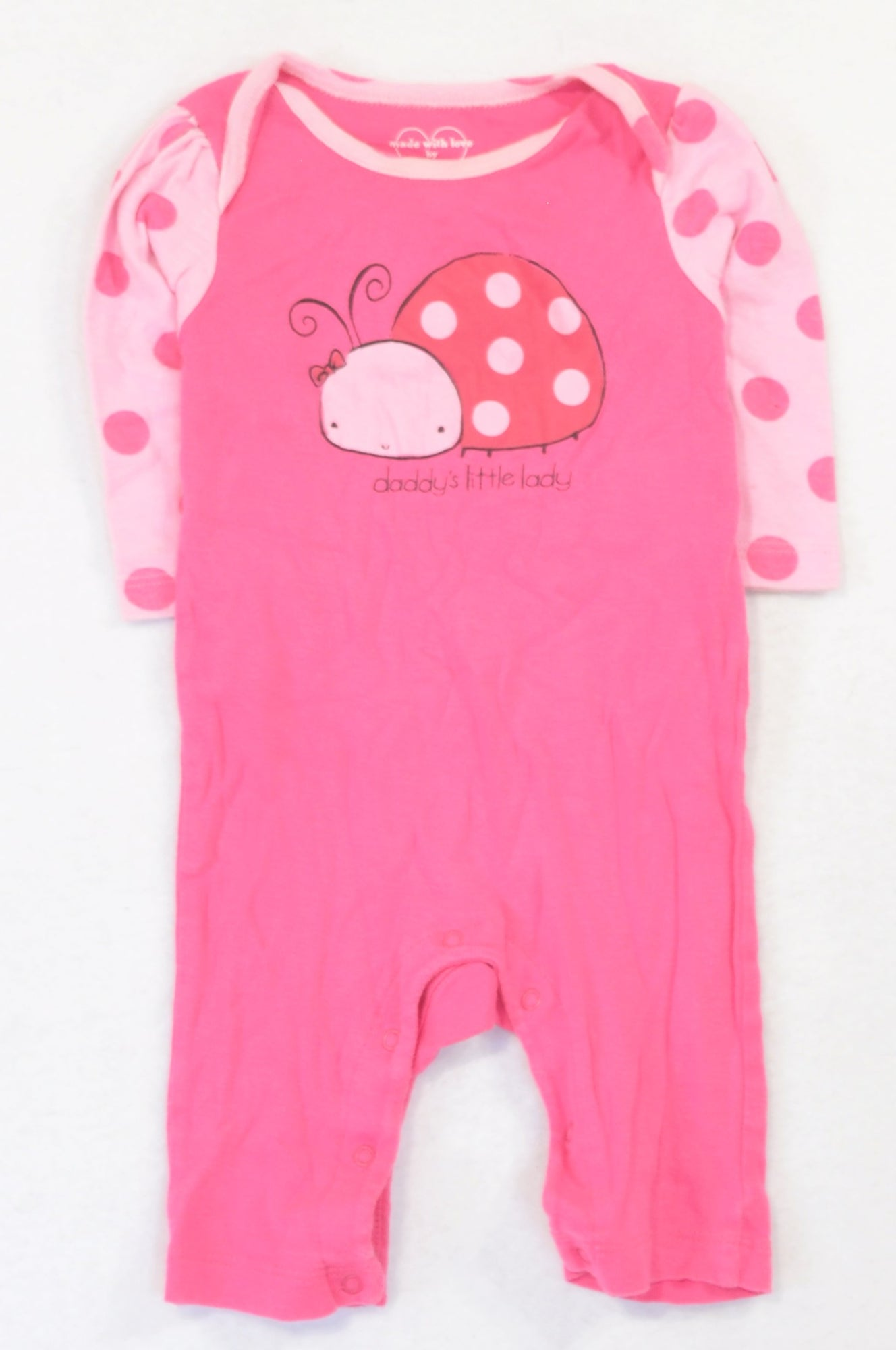 PLACE Pink Dotty Little Lady Onesie Girls 3-6 months
