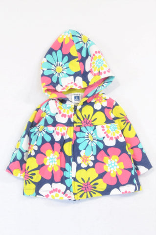 Carter's Navy Pink & Green Tropical Flower Lightweight Hoodie Girls 0-3 months
