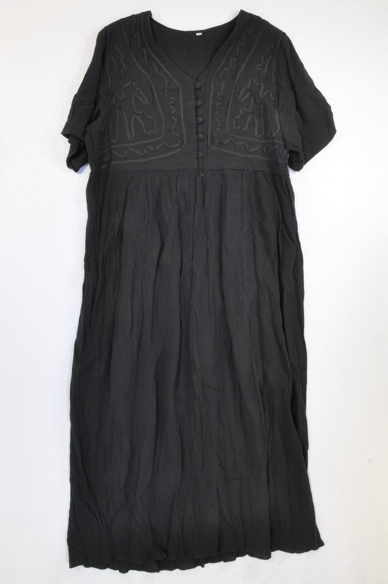 Unbranded Black Ribbon Bodice Crepe Dress Women Size 40