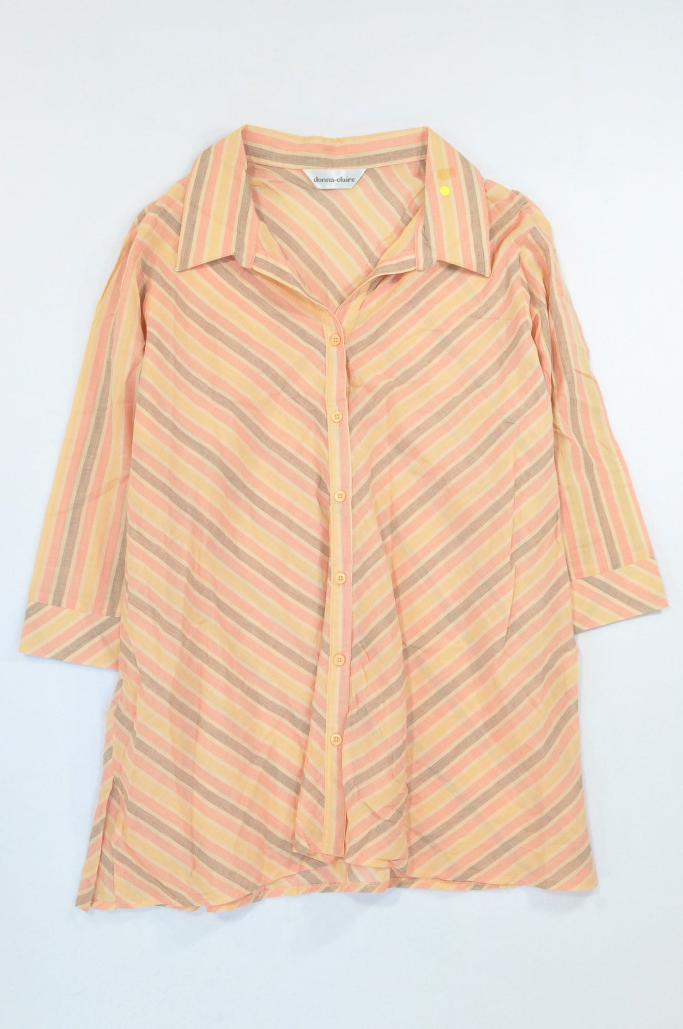 Donna Claire Peach & Pink Diagonal Stripe Lightweight Blouse Women Size 22