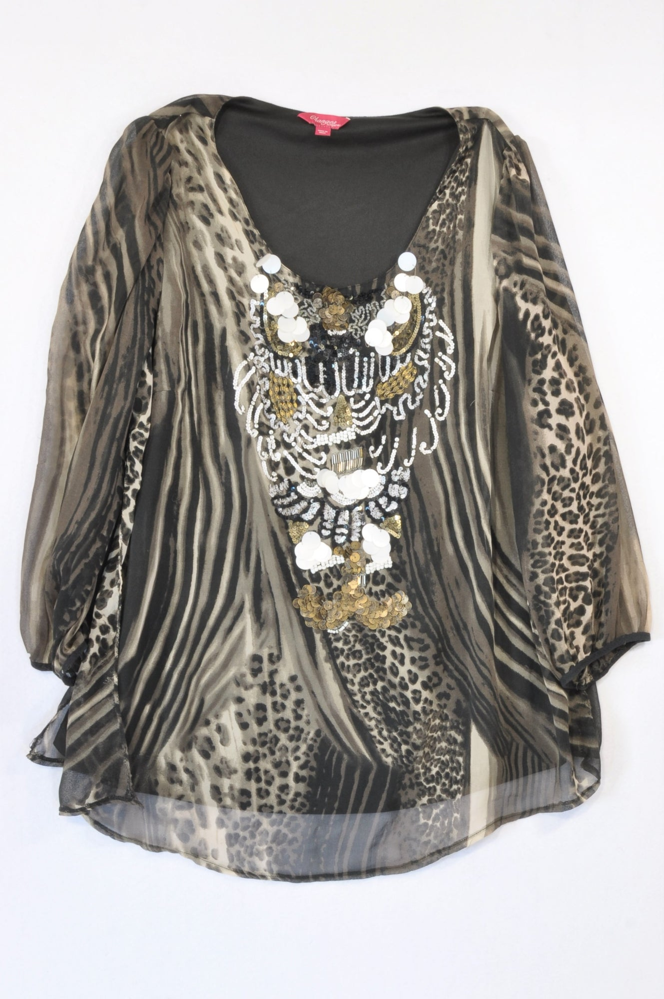 Changes by Together Animal Print Embellished Beaded Blouse Women Size 22