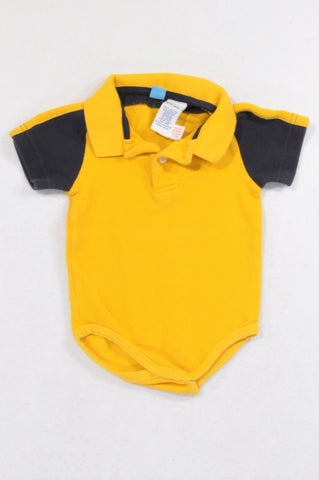 Gymboree Navy Sleeve Golden Yellow Golf Shirt Collar Baby Grow Boys 3-6 months
