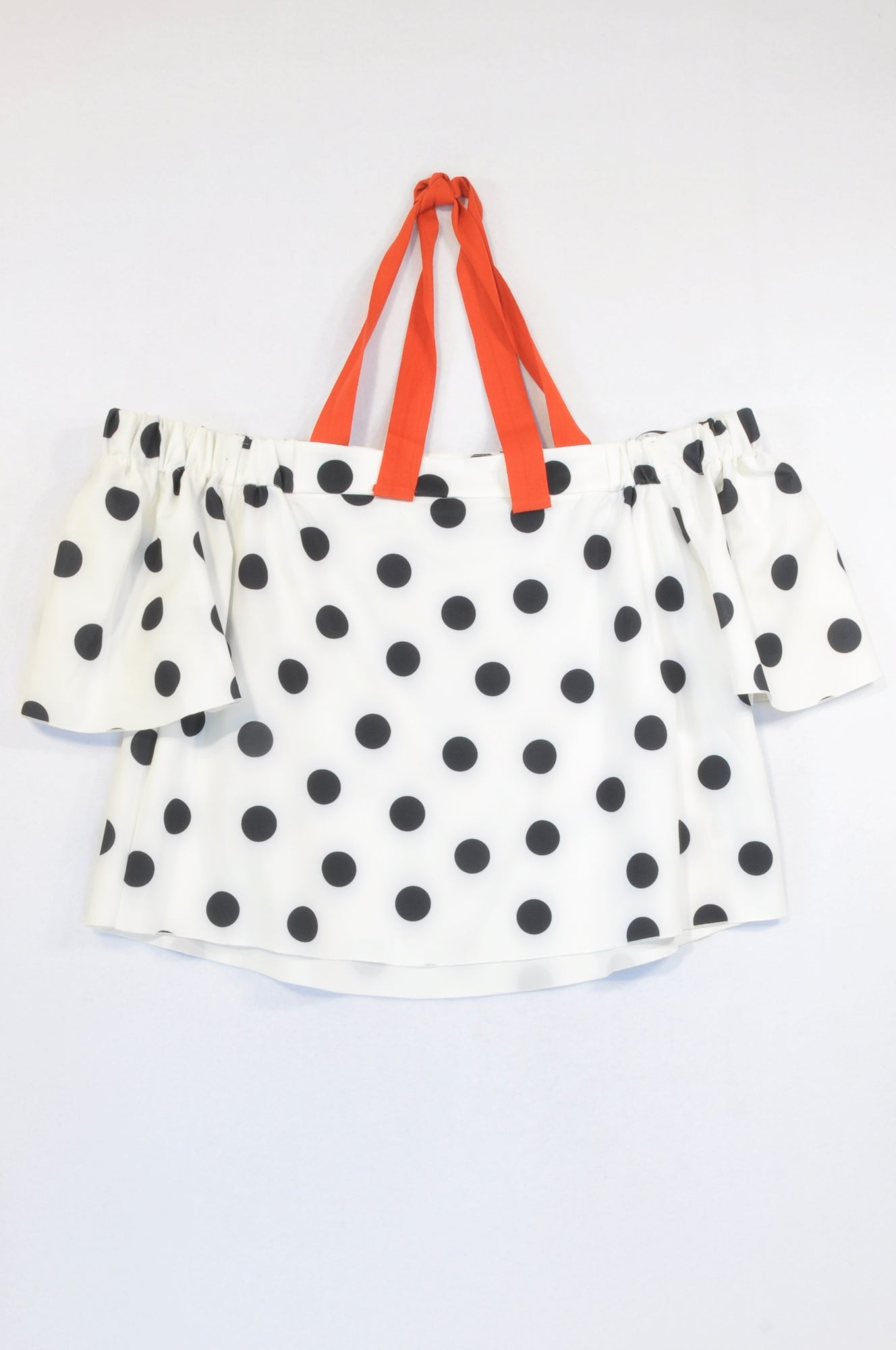 Zara Black & White Polka Dot Halter Blouse Women Size XL