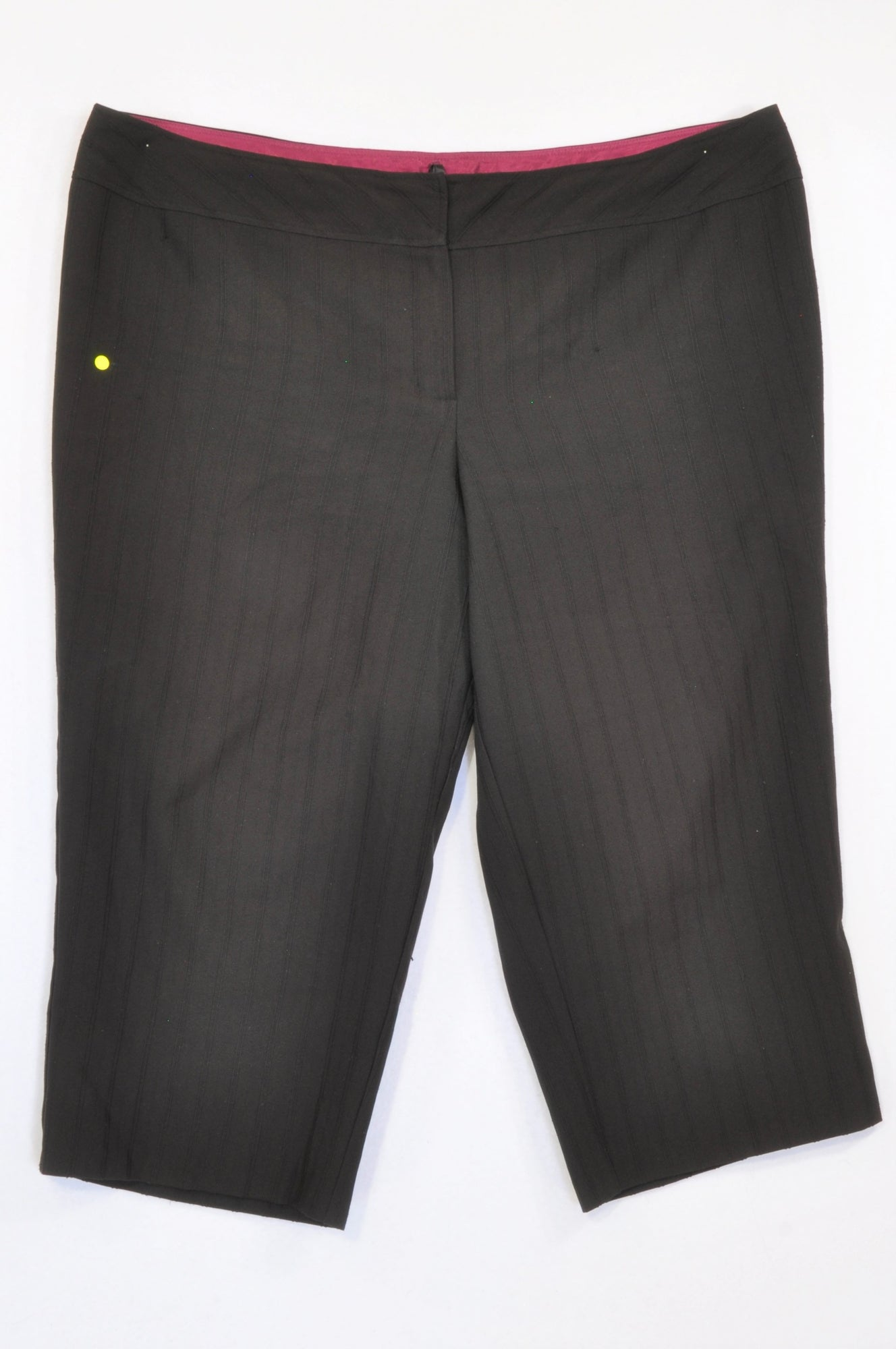 Evans Black Textured Pinstripe Cropped Slack Pants Women Size 20